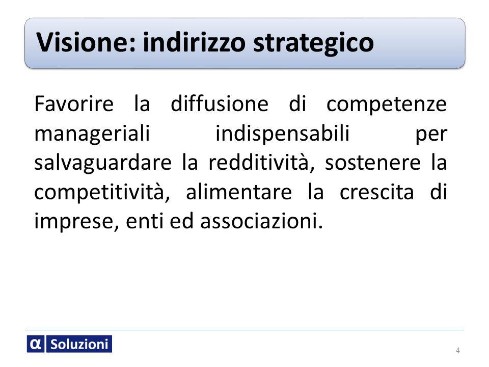 Visione: indirizzo strategico Favorire la diffusione di competenze manageriali indispensabili per salvaguardare la redditività, sostenere la competiti