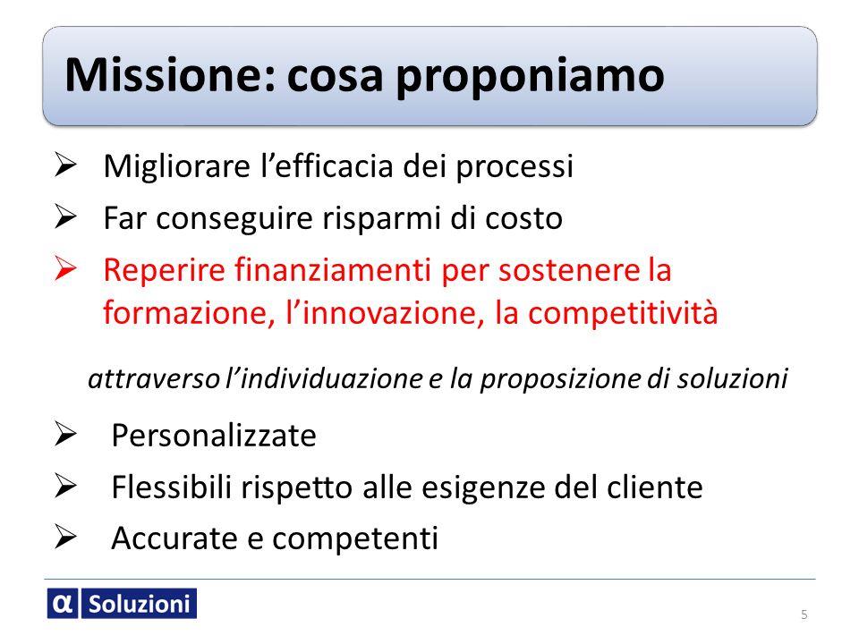 Missione: cosa proponiamo Migliorare lefficacia dei processi Far conseguire risparmi di costo Reperire finanziamenti per sostenere la formazione, linn