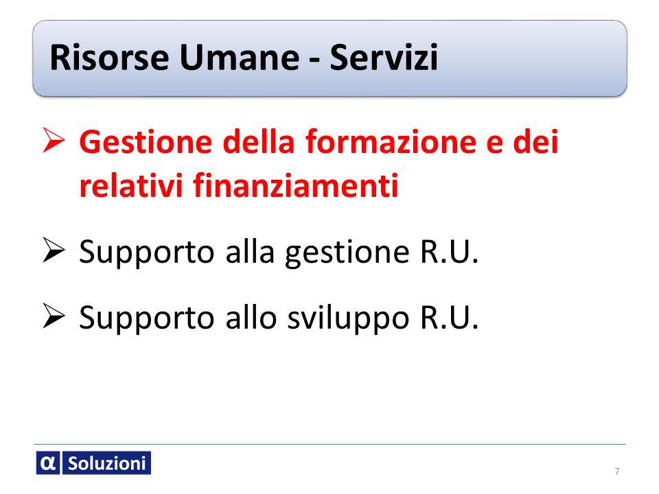 Risorse Umane - Servizi 7 Gestione della formazione e dei relativi finanziamenti Supporto alla gestione R.U. Supporto allo sviluppo R.U.