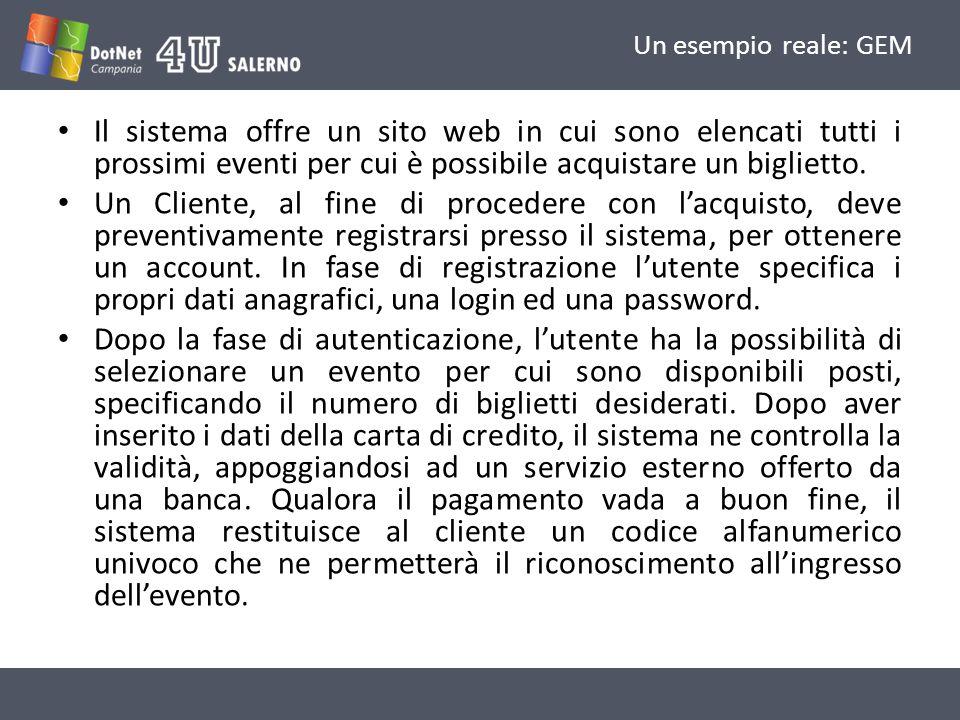 Un esempio reale: GEM Il sistema offre un sito web in cui sono elencati tutti i prossimi eventi per cui è possibile acquistare un biglietto.