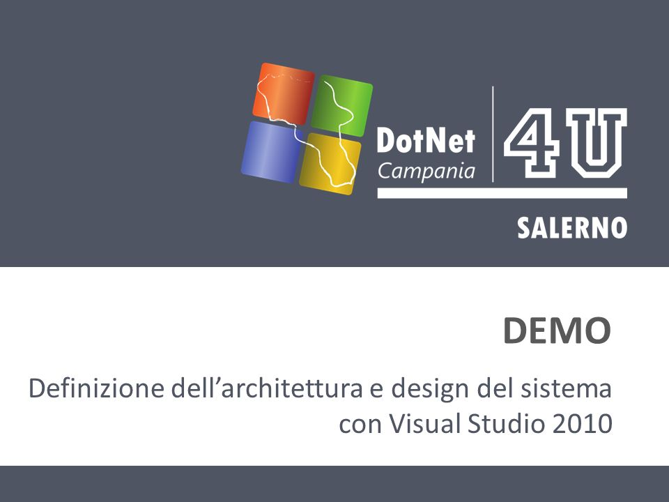 DEMO Definizione dellarchitettura e design del sistema con Visual Studio 2010
