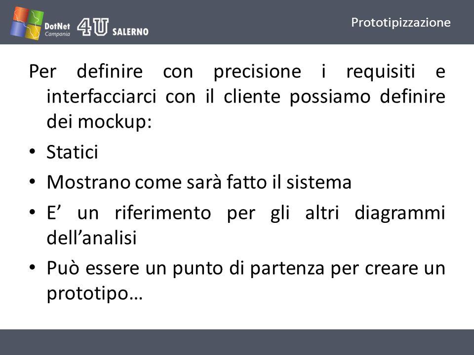 Prototipizzazione Per definire con precisione i requisiti e interfacciarci con il cliente possiamo definire dei mockup: Statici Mostrano come sarà fatto il sistema E un riferimento per gli altri diagrammi dellanalisi Può essere un punto di partenza per creare un prototipo…