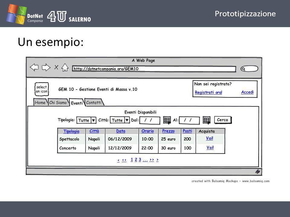 Prototipizzazione Un esempio: