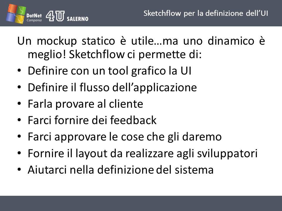 Sketchflow per la definizione dellUI Un mockup statico è utile…ma uno dinamico è meglio.