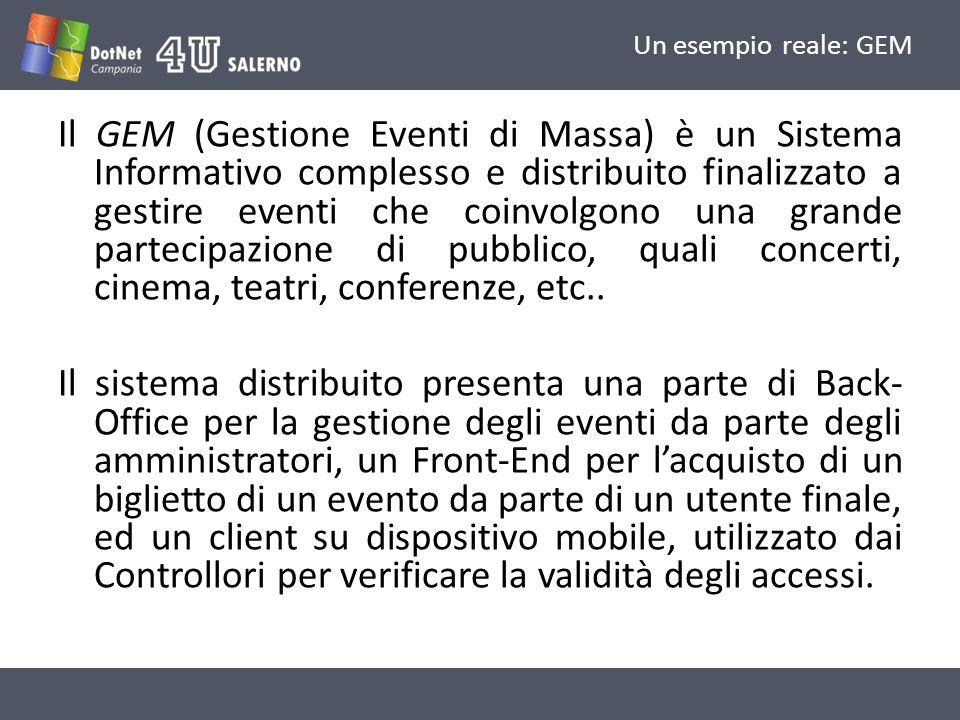 Un esempio reale: GEM Il GEM (Gestione Eventi di Massa) è un Sistema Informativo complesso e distribuito finalizzato a gestire eventi che coinvolgono una grande partecipazione di pubblico, quali concerti, cinema, teatri, conferenze, etc..