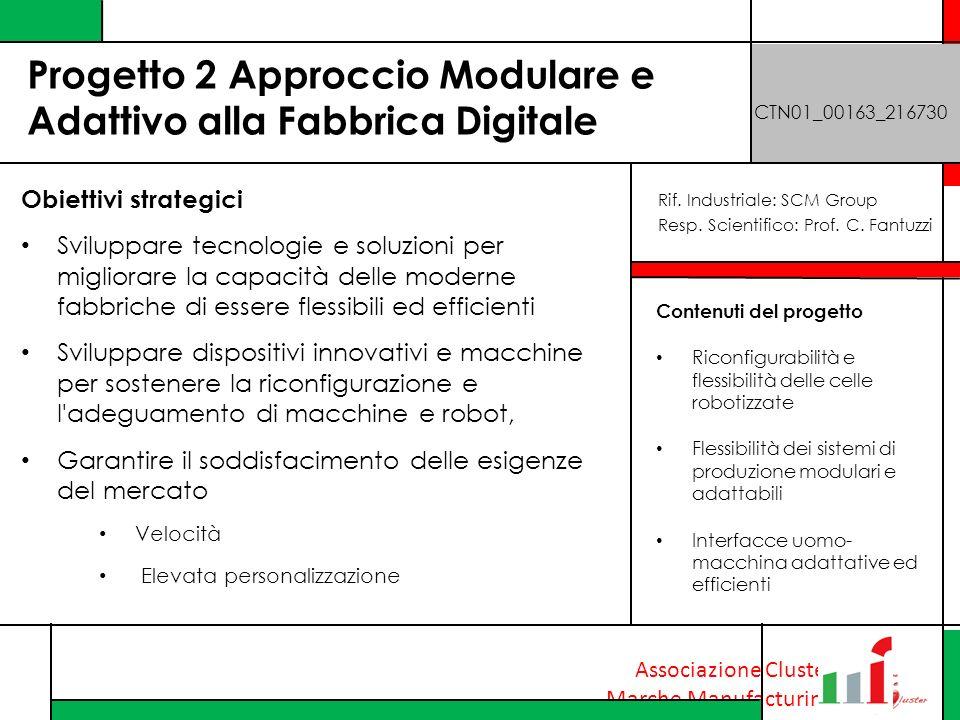 Associazione Cluster Marche Manufacturing Progetto 2 Approccio Modulare e Adattivo alla Fabbrica Digitale CTN01_00163_216730 Obiettivi strategici Svil