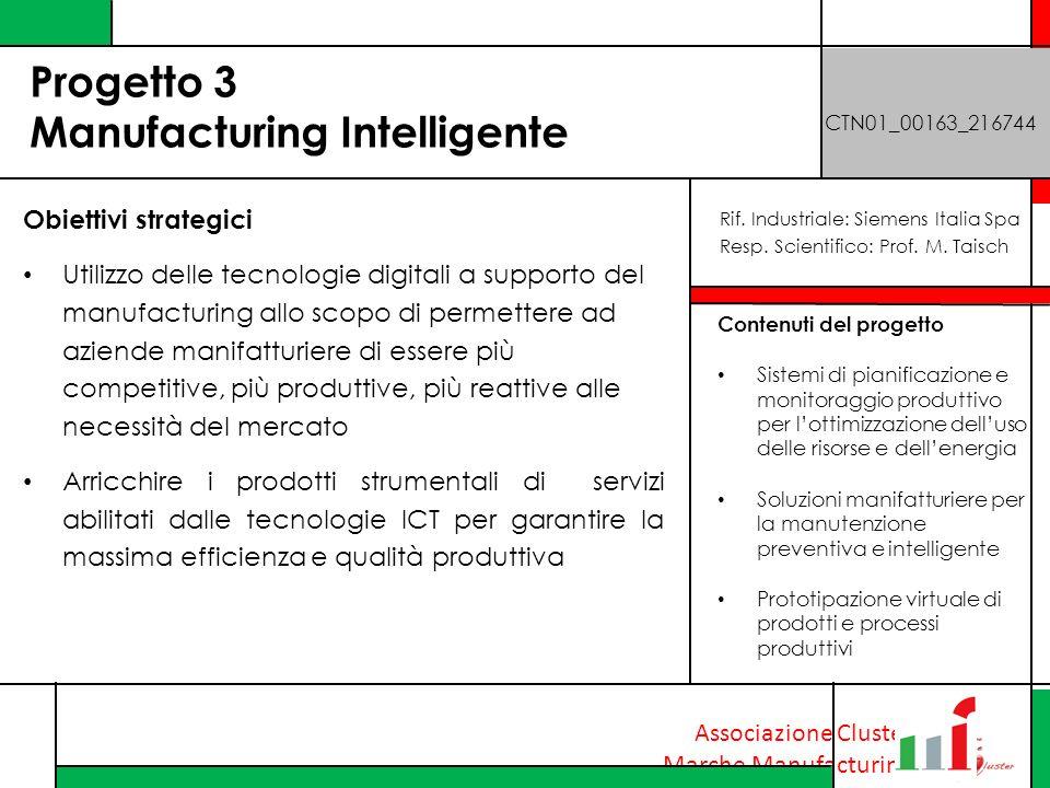Associazione Cluster Marche Manufacturing Progetto 3 Manufacturing Intelligente CTN01_00163_216744 Obiettivi strategici Utilizzo delle tecnologie digi
