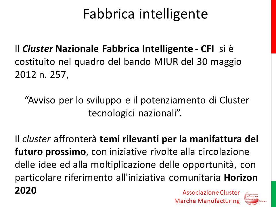 Associazione Cluster Marche Manufacturing Fabbrica intelligente Il Cluster Nazionale Fabbrica Intelligente - CFI si è costituito nel quadro del bando