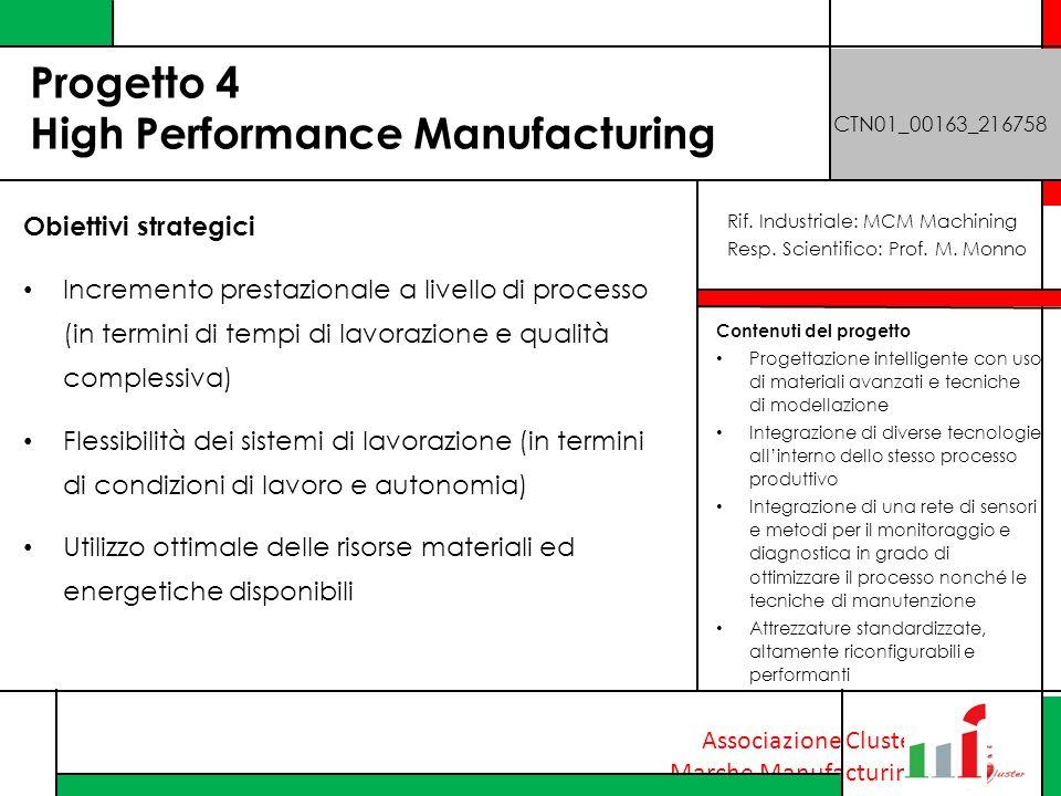 Associazione Cluster Marche Manufacturing Progetto 4 High Performance Manufacturing CTN01_00163_216758 Obiettivi strategici Incremento prestazionale a