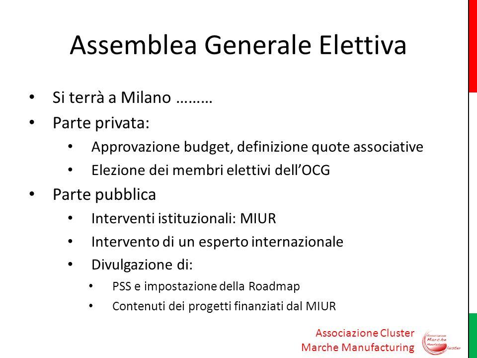 Associazione Cluster Marche Manufacturing Assemblea Generale Elettiva Si terrà a Milano ……… Parte privata: Approvazione budget, definizione quote asso