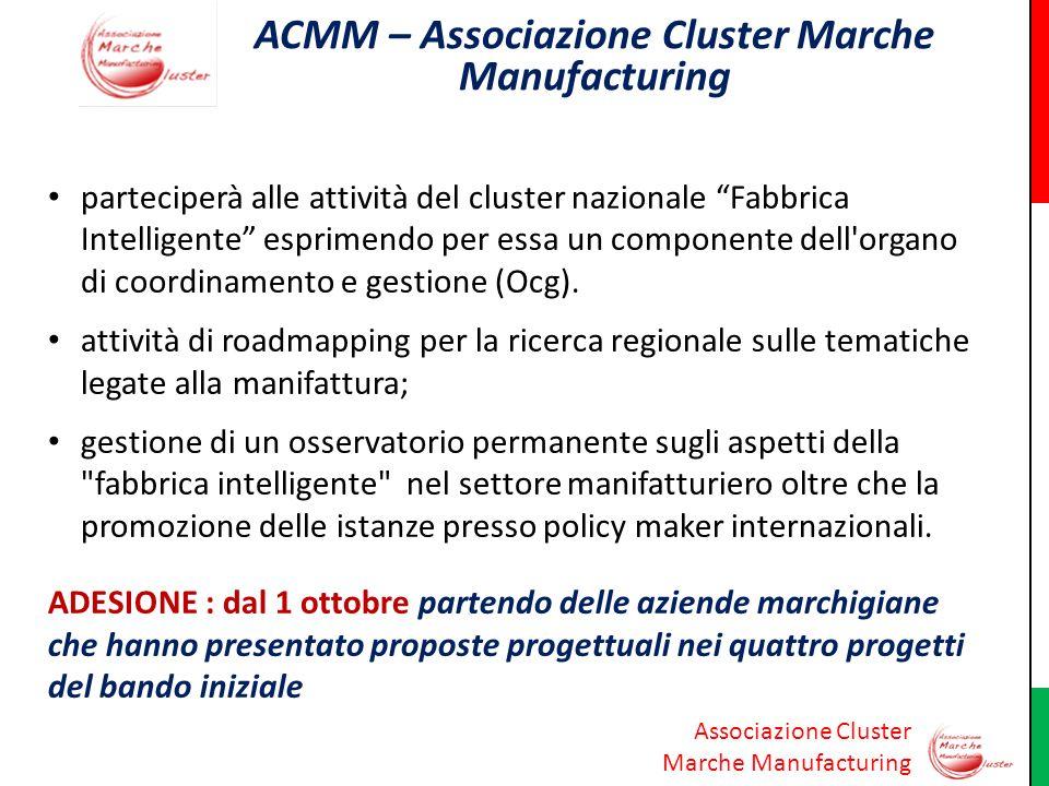 Associazione Cluster Marche Manufacturing ACMM – Associazione Cluster Marche Manufacturing parteciperà alle attività del cluster nazionale Fabbrica In