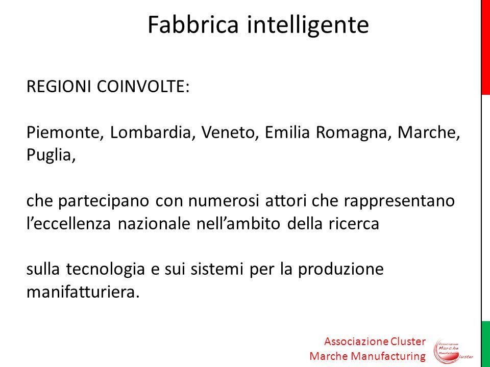 Associazione Cluster Marche Manufacturing Fabbrica intelligente REGIONI COINVOLTE: Piemonte, Lombardia, Veneto, Emilia Romagna, Marche, Puglia, che pa