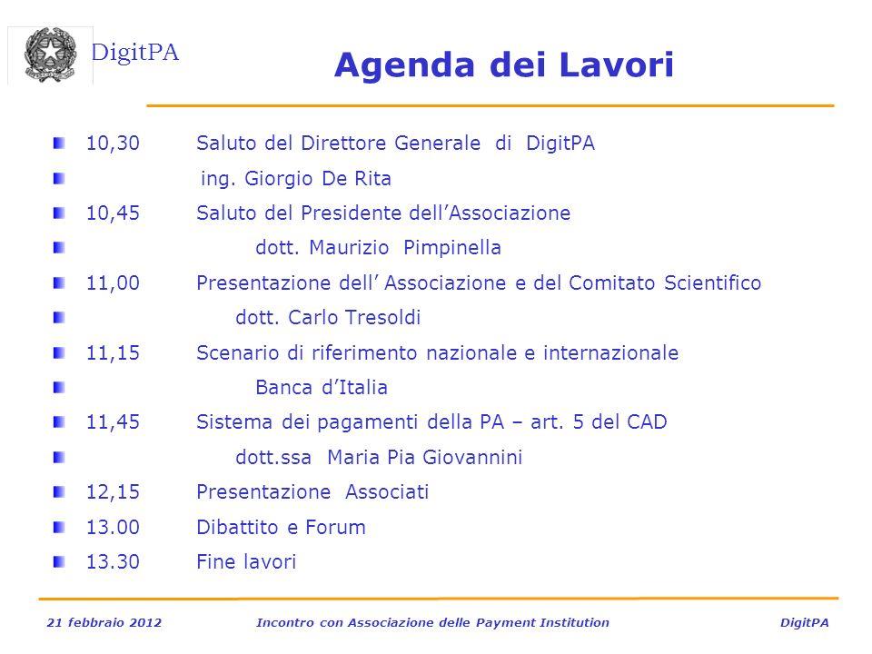 DigitPA 21 febbraio 2012Incontro con Associazione delle Payment Institution DigitPA Agenda dei Lavori 10,30 Saluto del Direttore Generale di DigitPA i