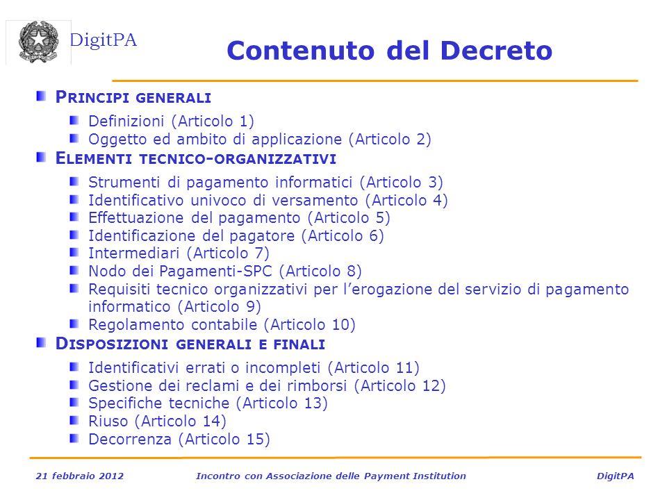 DigitPA 21 febbraio 2012Incontro con Associazione delle Payment Institution DigitPA P RINCIPI GENERALI Definizioni (Articolo 1) Oggetto ed ambito di a