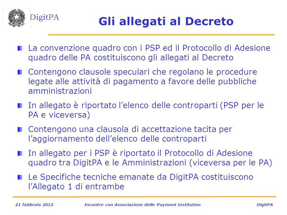DigitPA 21 febbraio 2012Incontro con Associazione delle Payment Institution DigitPA Gli allegati al Decreto La convenzione quadro con i PSP ed il Prot