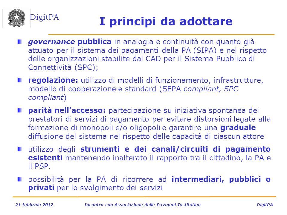 DigitPA 21 febbraio 2012Incontro con Associazione delle Payment Institution DigitPA I principi da adottare governance pubblica in analogia e continuit