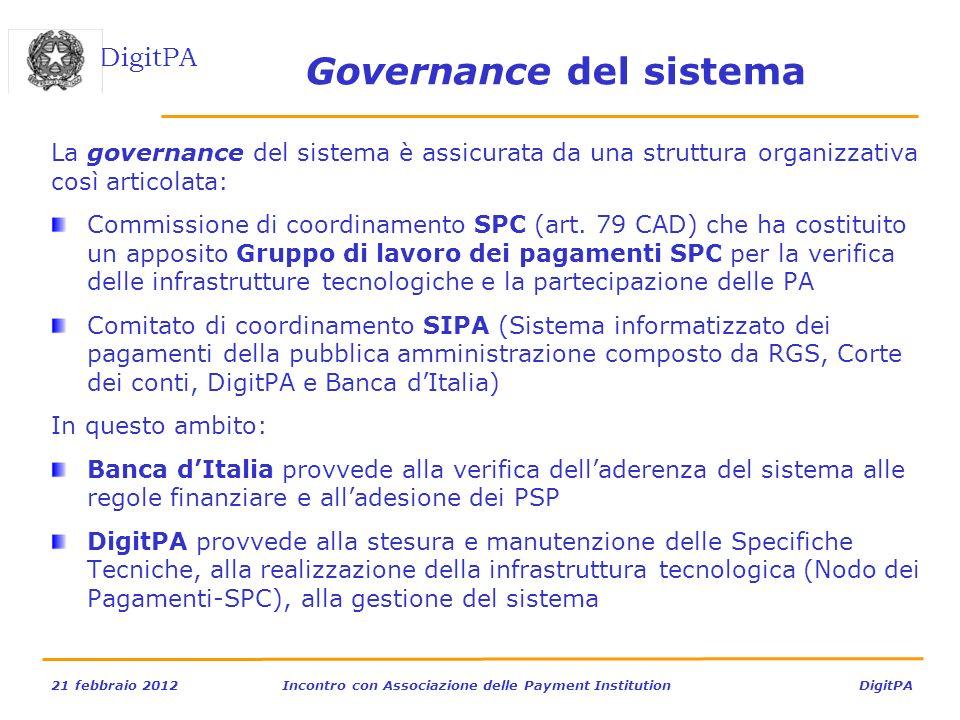 DigitPA 21 febbraio 2012Incontro con Associazione delle Payment Institution DigitPA Governance del sistema La governance del sistema è assicurata da u