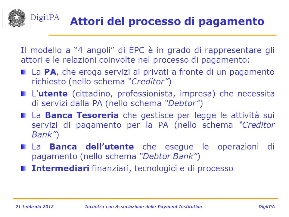 DigitPA 21 febbraio 2012Incontro con Associazione delle Payment Institution DigitPA Il modello a 4 angoli di EPC è in grado di rappresentare gli attor