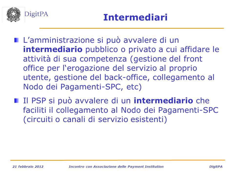 DigitPA 21 febbraio 2012Incontro con Associazione delle Payment Institution DigitPA Intermediari Lamministrazione si può avvalere di un intermediario