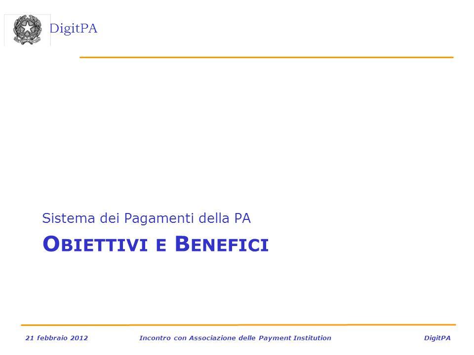 DigitPA 21 febbraio 2012Incontro con Associazione delle Payment Institution DigitPA O BIETTIVI E B ENEFICI Sistema dei Pagamenti della PA