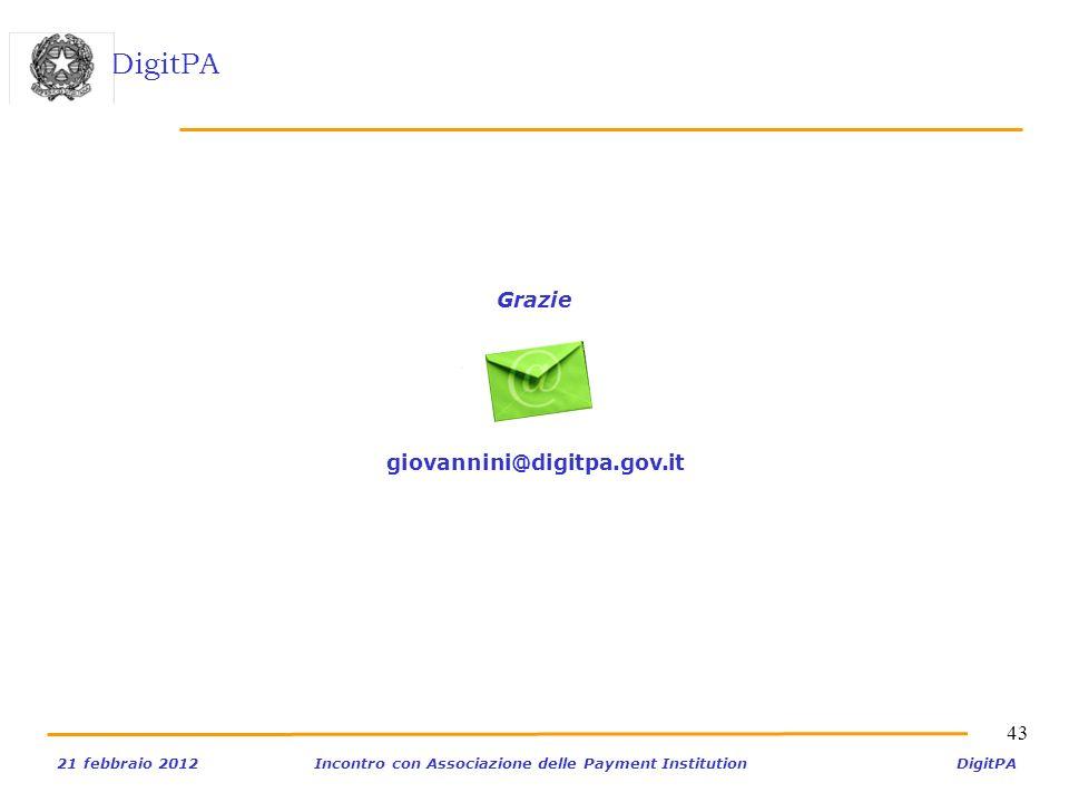 DigitPA 21 febbraio 2012Incontro con Associazione delle Payment Institution DigitPA 43 Grazie giovannini@digitpa.gov.it