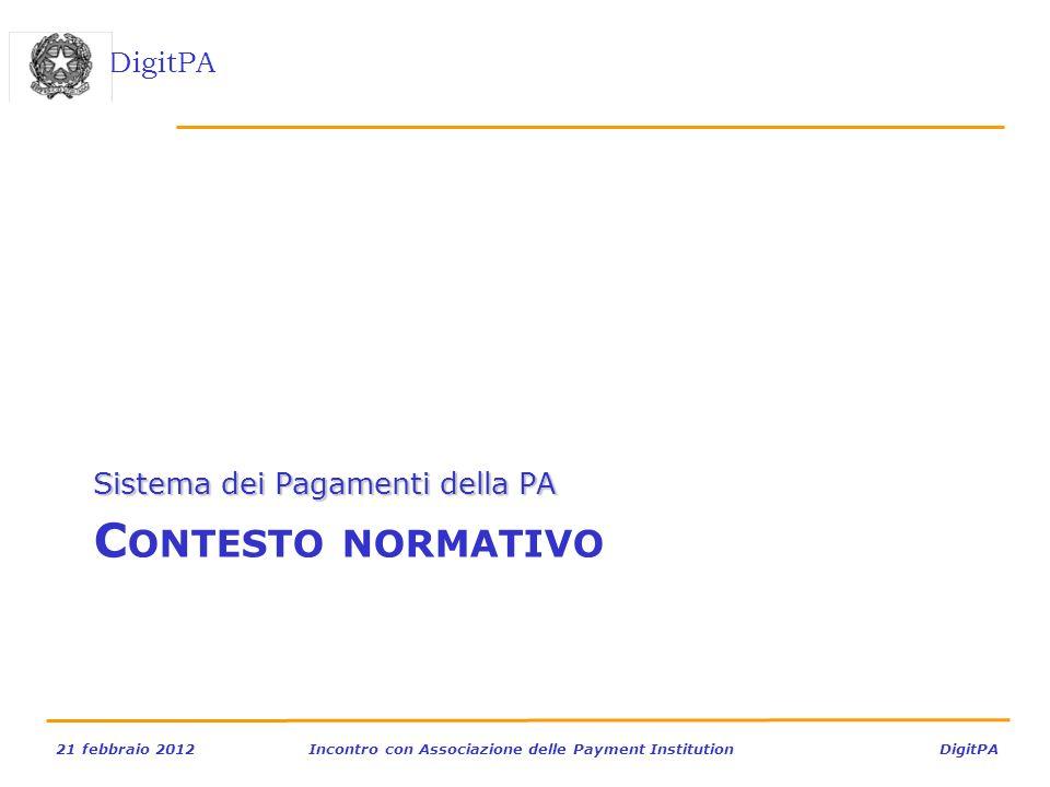 DigitPA 21 febbraio 2012Incontro con Associazione delle Payment Institution DigitPA C ONTESTO NORMATIVO Sistema dei Pagamenti della PA