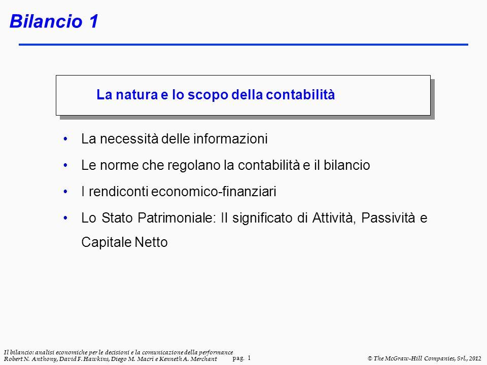 pag. 1 Il bilancio: analisi economiche per le decisioni e la comunicazione della performance Robert N. Anthony, David F. Hawkins, Diego M. Macrì e Ken