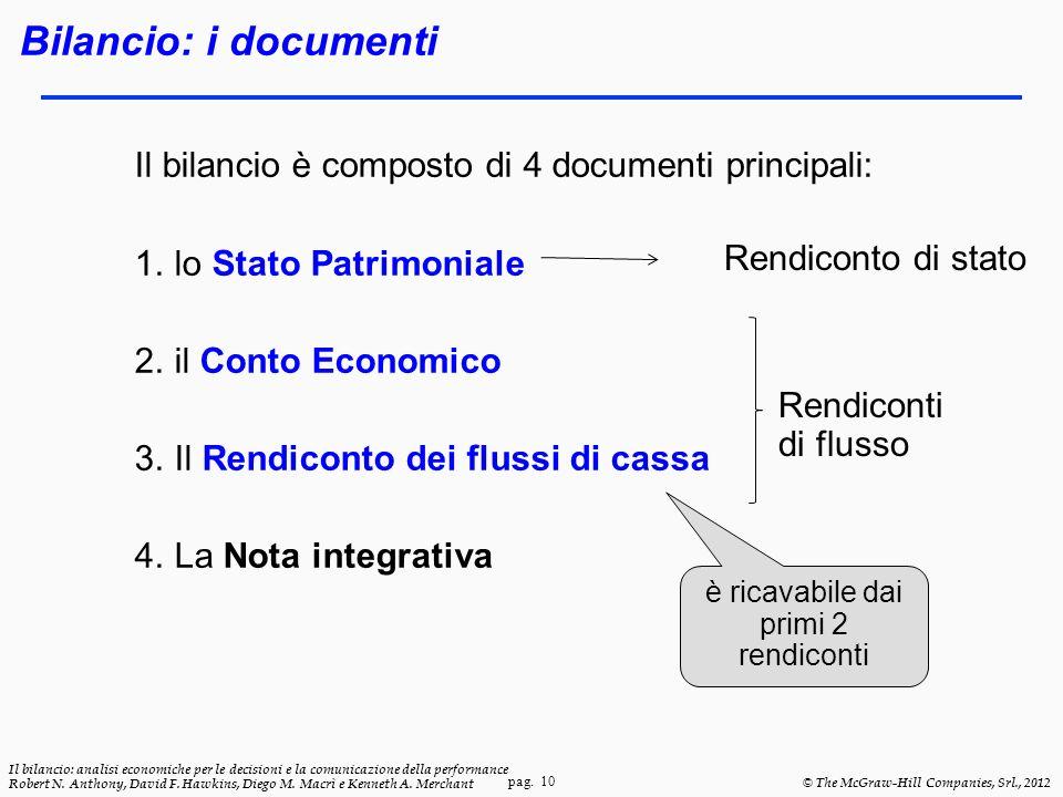 pag. 10 Il bilancio: analisi economiche per le decisioni e la comunicazione della performance Robert N. Anthony, David F. Hawkins, Diego M. Macrì e Ke