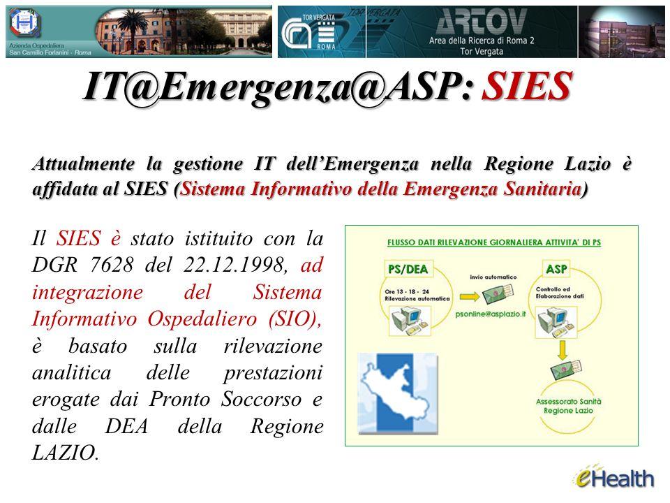 Il SIES è stato istituito con la DGR 7628 del 22.12.1998, ad integrazione del Sistema Informativo Ospedaliero (SIO), è basato sulla rilevazione analitica delle prestazioni erogate dai Pronto Soccorso e dalle DEA della Regione LAZIO.
