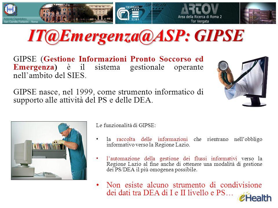GIPSE (Gestione Informazioni Pronto Soccorso ed Emergenza) è il sistema gestionale operante nellambito del SIES.