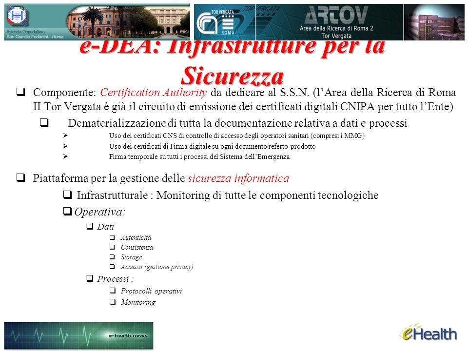 e-DEA: Infrastrutture per la Sicurezza Componente: Certification Authority da dedicare al S.S.N.
