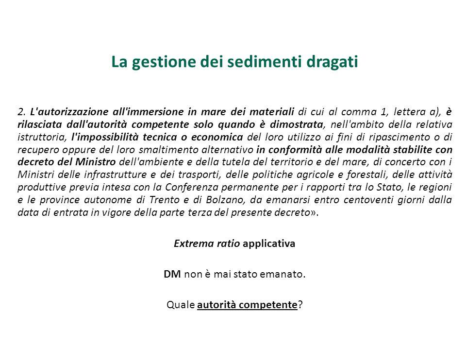 La gestione dei sedimenti dragati 2. L'autorizzazione all'immersione in mare dei materiali di cui al comma 1, lettera a), è rilasciata dall'autorità c