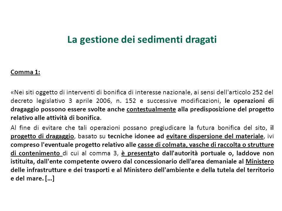 La gestione dei sedimenti dragati Comma 1: «Nei siti oggetto di interventi di bonifica di interesse nazionale, ai sensi dell'articolo 252 del decreto