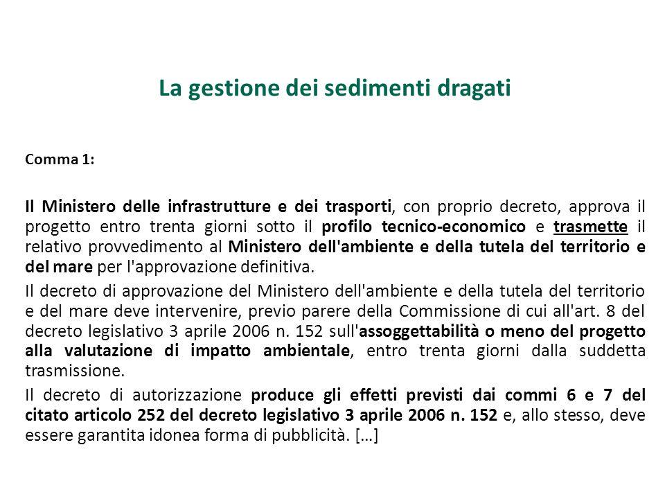 La gestione dei sedimenti dragati Comma 1: Il Ministero delle infrastrutture e dei trasporti, con proprio decreto, approva il progetto entro trenta gi