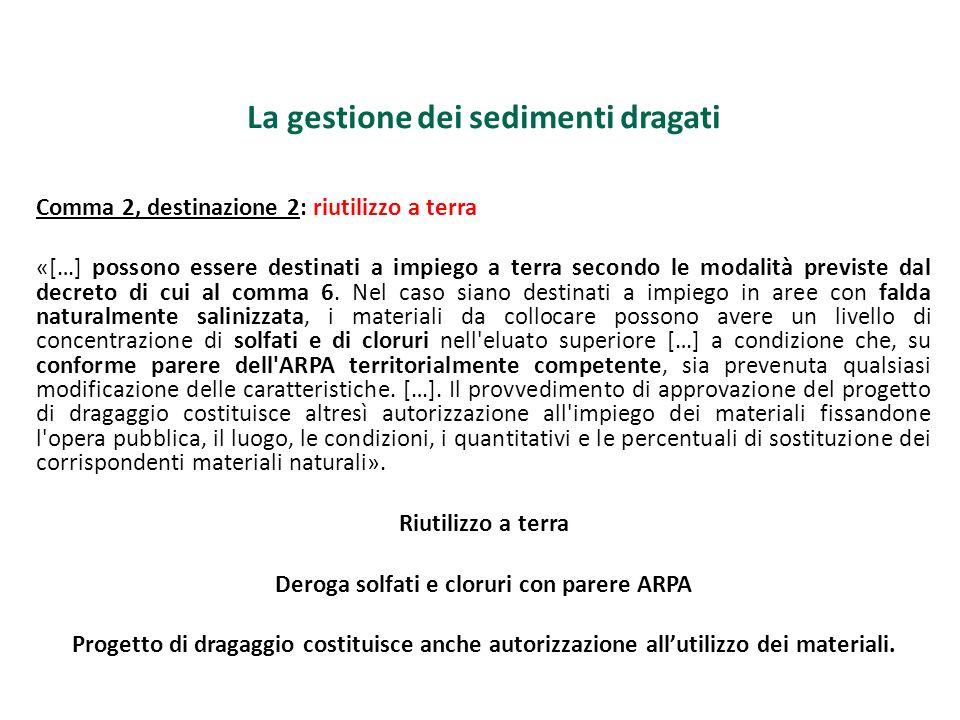 La gestione dei sedimenti dragati Comma 2, destinazione 2: riutilizzo a terra «[…] possono essere destinati a impiego a terra secondo le modalità prev