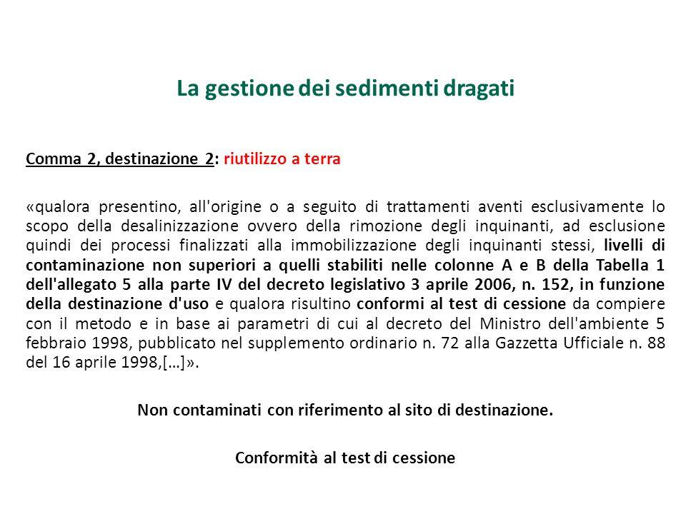 La gestione dei sedimenti dragati Comma 2, destinazione 2: riutilizzo a terra «qualora presentino, all'origine o a seguito di trattamenti aventi esclu