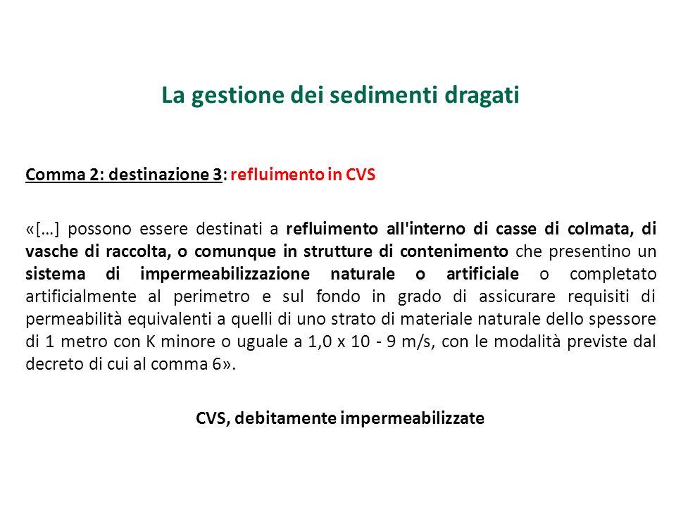 La gestione dei sedimenti dragati Comma 2: destinazione 3: refluimento in CVS «[…] possono essere destinati a refluimento all'interno di casse di colm