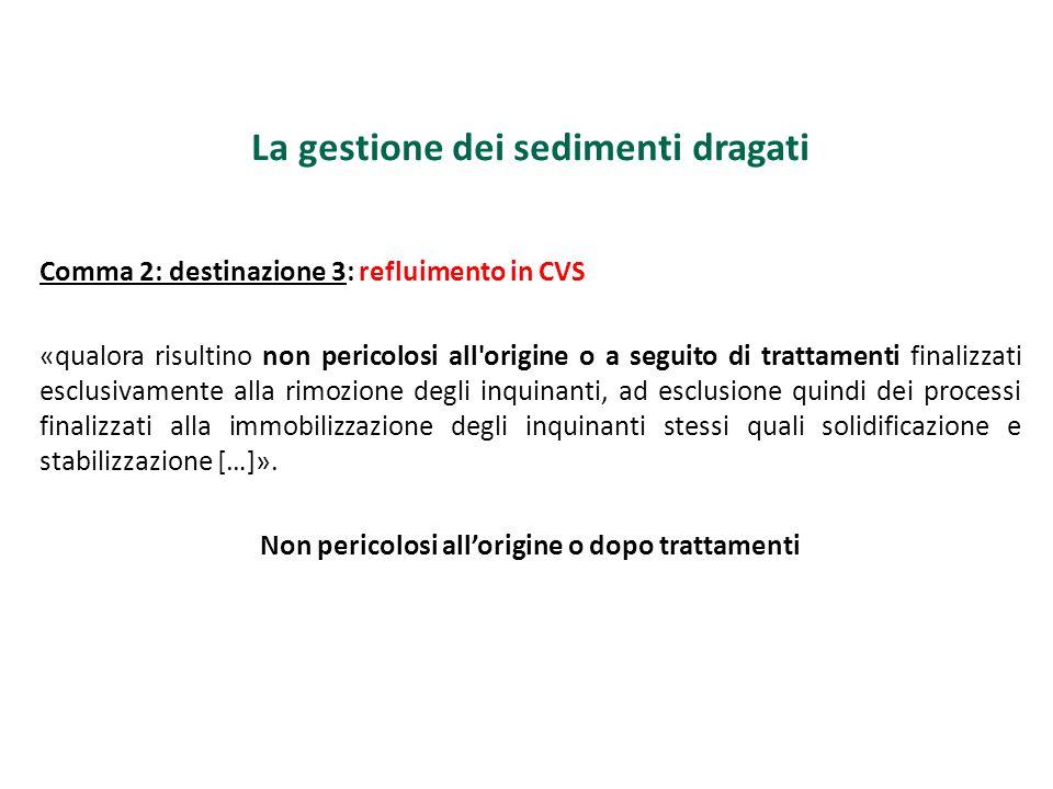 La gestione dei sedimenti dragati Comma 2: destinazione 3: refluimento in CVS «qualora risultino non pericolosi all'origine o a seguito di trattamenti
