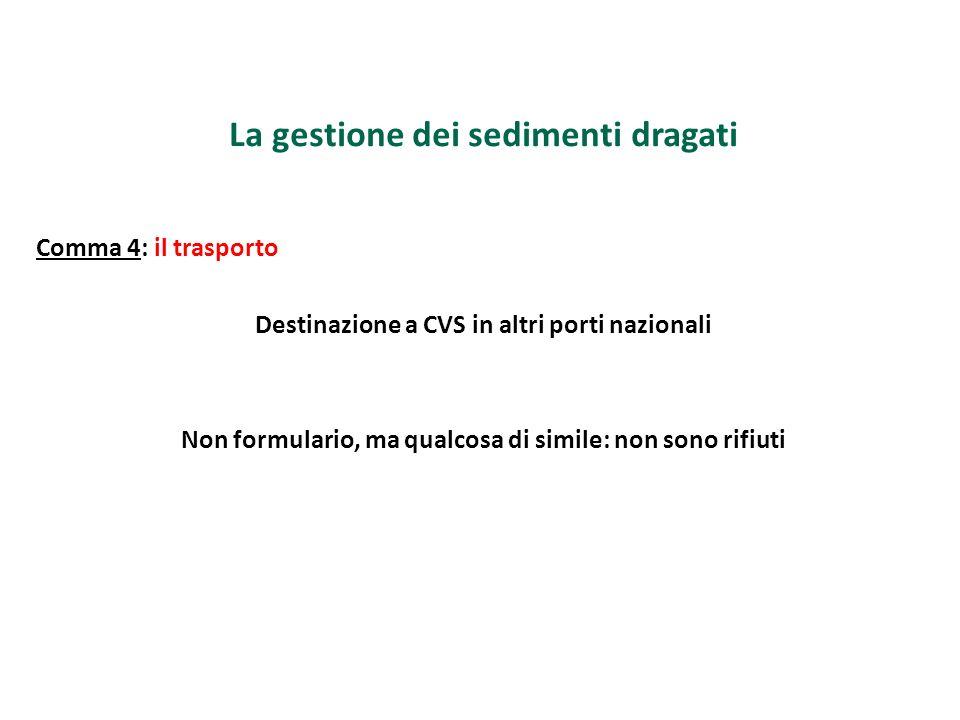 La gestione dei sedimenti dragati Comma 4: il trasporto Destinazione a CVS in altri porti nazionali Non formulario, ma qualcosa di simile: non sono ri