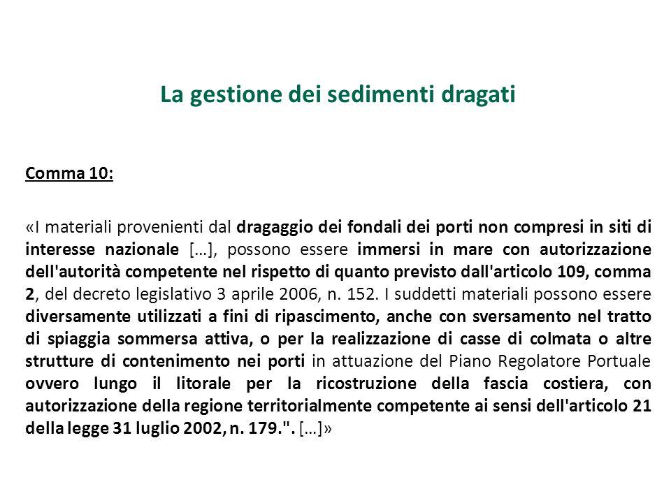 La gestione dei sedimenti dragati Comma 10: «I materiali provenienti dal dragaggio dei fondali dei porti non compresi in siti di interesse nazionale [