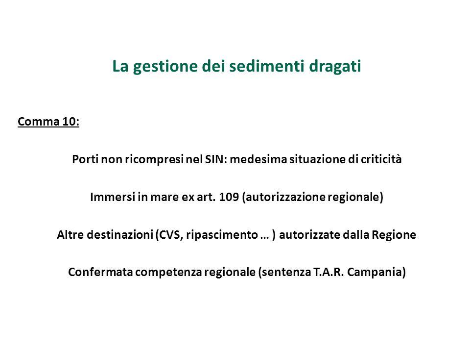 La gestione dei sedimenti dragati Comma 10: Porti non ricompresi nel SIN: medesima situazione di criticità Immersi in mare ex art. 109 (autorizzazione