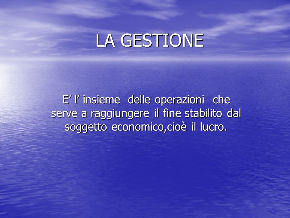 LA GESTIONE E l insieme delle operazioni che serve a raggiungere il fine stabilito dal soggetto economico,cioè il lucro.