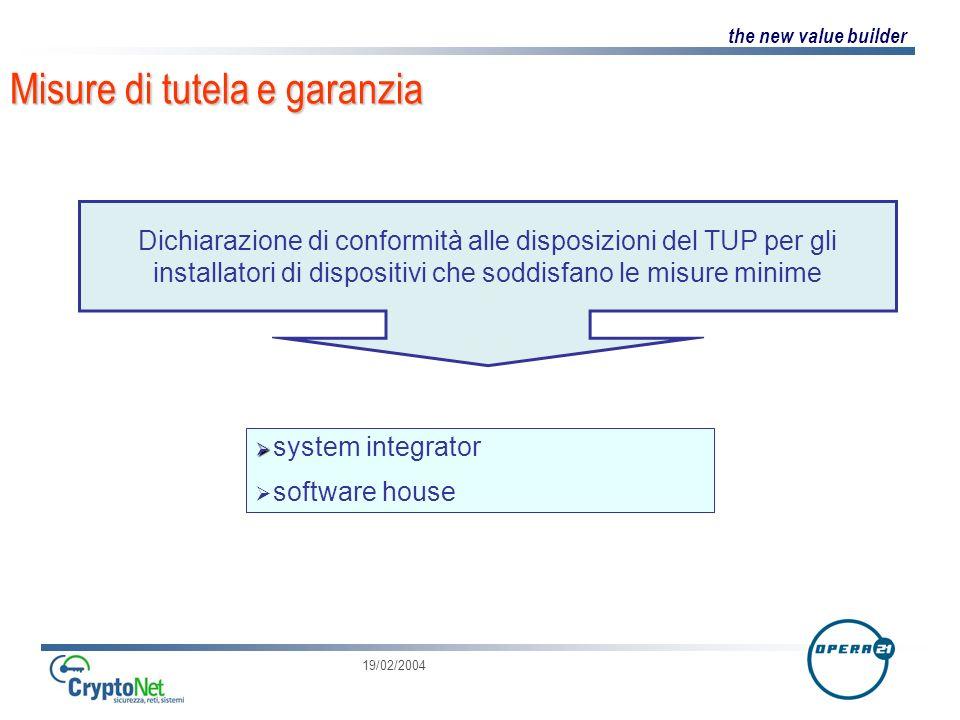 the new value builder 19/02/2004 Misure di tutela e garanzia Dichiarazione di conformità alle disposizioni del TUP per gli installatori di dispositivi che soddisfano le misure minime system integrator software house