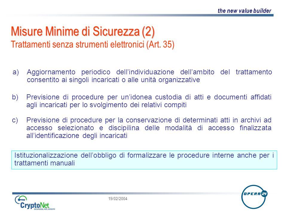 the new value builder 19/02/2004 Misure Minime di Sicurezza (2) Misure Minime di Sicurezza (2) Trattamenti senza strumenti elettronici (Art.