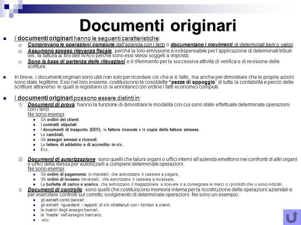Documenti originari I documenti originari hanno le seguenti caratteristiche: a) Comprovano le operazioni compiute dallazienda con i terzidocumentano i