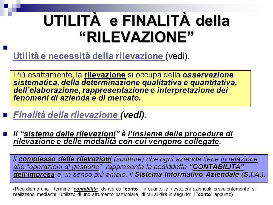 UTILITÀ e FINALITÀ della RILEVAZIONE (vedi). Utilità e necessità della rilevazione (vedi). Utilità e necessità della rilevazione rilevazione osservazi