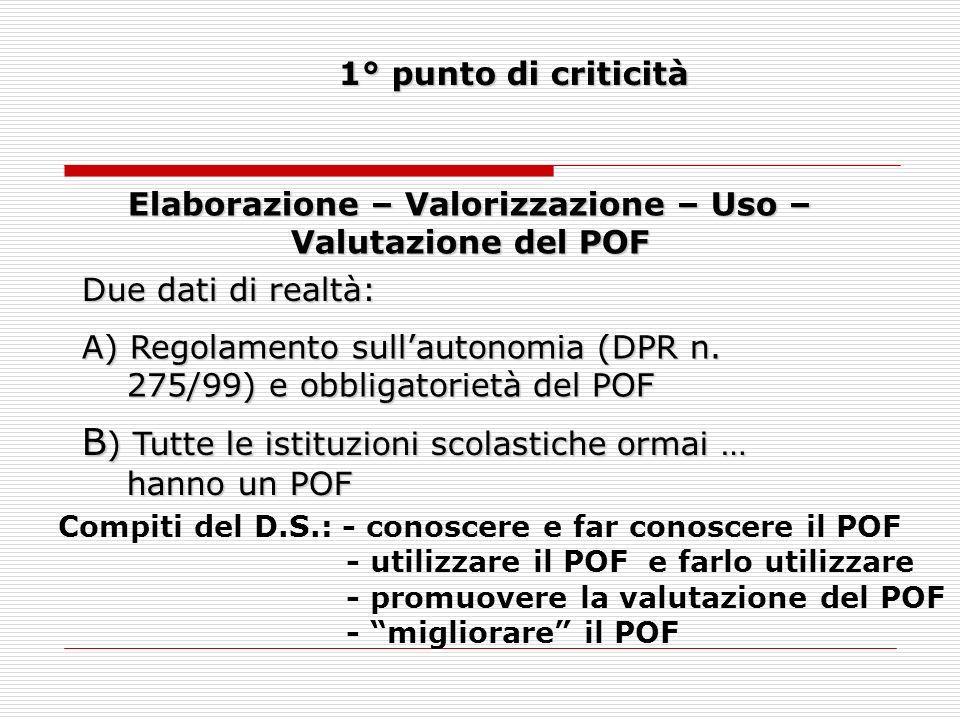 Elaborazione – Valorizzazione – Uso – Valutazione del POF 1° punto di criticità Due dati di realtà: A)Regolamento sullautonomia (DPR n.