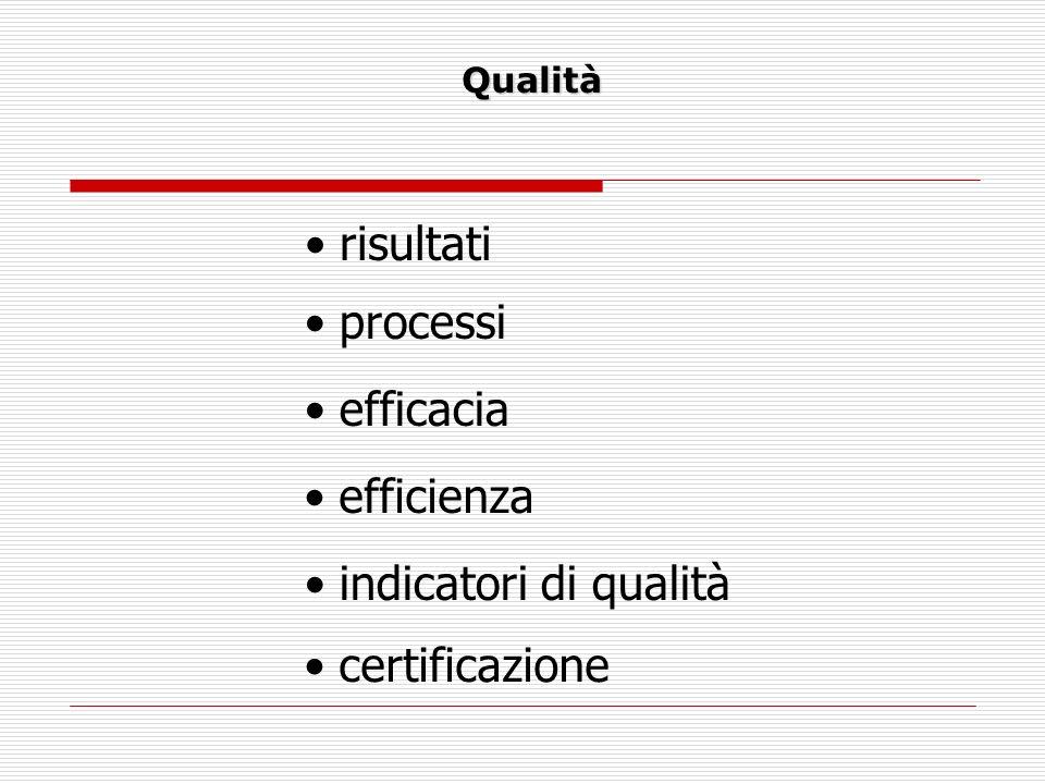 Qualità risultati processi efficacia efficienza indicatori di qualità certificazione