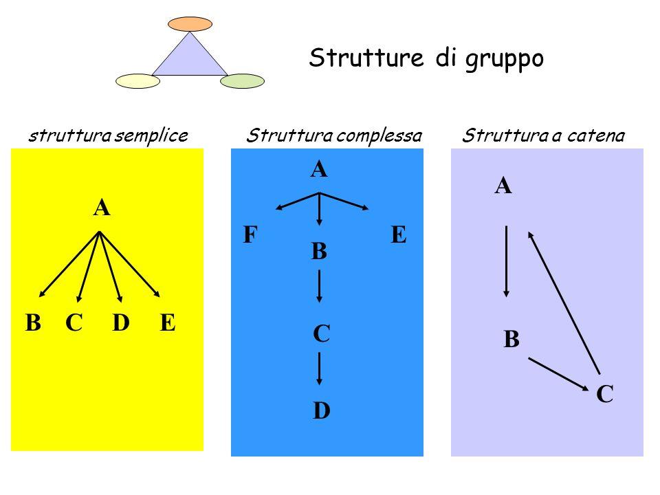Struttura a catenaStruttura complessastruttura semplice A BCDE C D A B EF C A B Strutture di gruppo