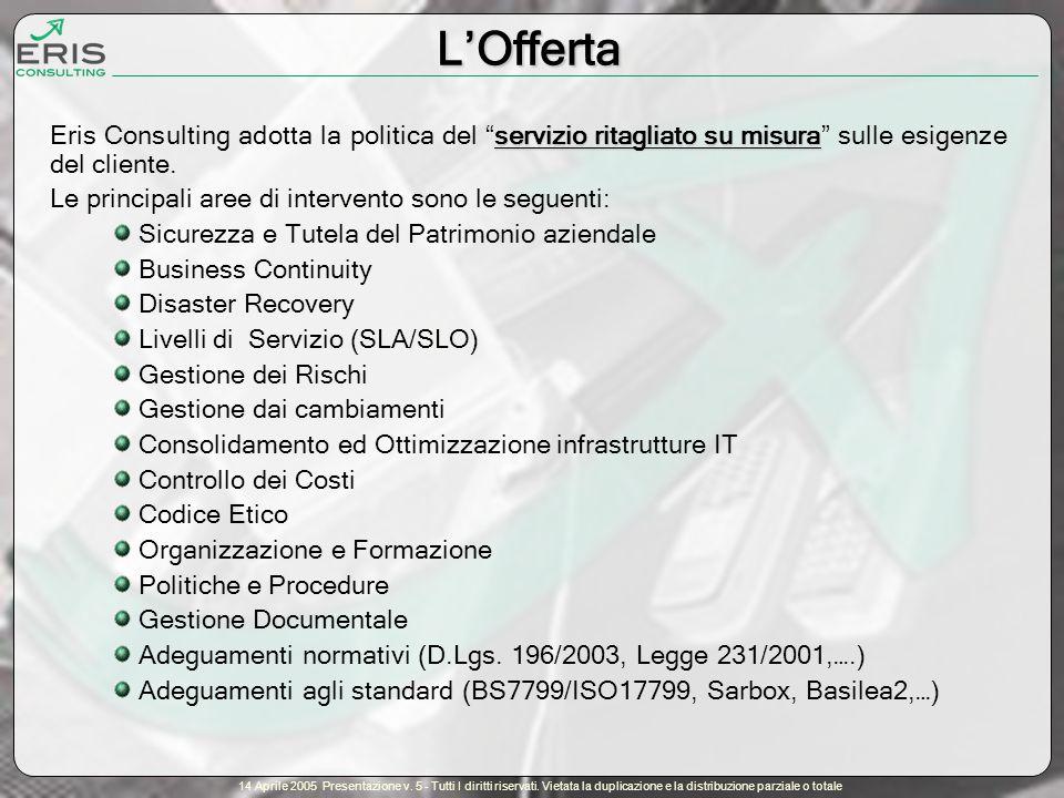 14 Aprile 2005 Presentazione v.5 - Tutti I diritti riservati.